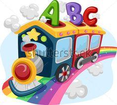 Ilustración DE Un Tren En Un Arco Iris Lleno DE Abc vectores en stock - Clipart.me