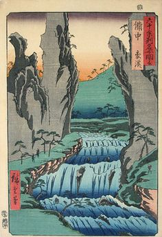Utagawa Hiroshige (1797-1858): Famous Places in the Sixty Odd Provinces: The Gô Gorge in Bitchû Province, woodblock print, ca. 1853.