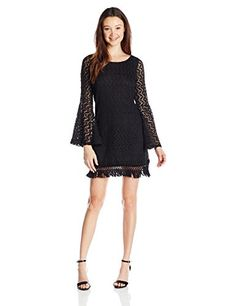 love, FiRE Junior's Long Sleeve Crochet Lace Swing Dress  Long sleeve knit crochet lace swing dress with fringe detail at hem Bell sleeve Bell sleeve Pull on  http://www.artydress.com/love-fire-juniors-long-sleeve-crochet-lace-swing-dress/