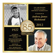 85th Birthday Invitations Then Now Photos 60th 50th Event
