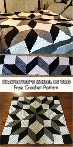 Crochet Afghan Patterns OMG Crochet Carpenter's Wheel in Free Pattern Crochet Afghans, Crochet Quilt Pattern, C2c Crochet Blanket, Crochet For Beginners Blanket, Crochet Squares, Crochet Granny, Crochet Stitches, Free Crochet, Crochet Baby