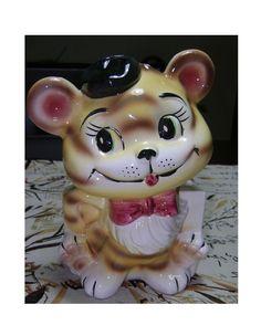 Tiger Cat Planter Vintage Porcelain Tiger by PopcornVintageByTann
