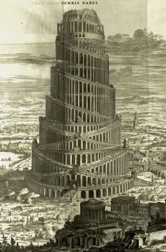 Athanasius Kircher (Saint Andrews copy of a large fold-out plate print, engraving, detail); Turris Babel [Tower of Babel], Amsterdam, c. 1679.