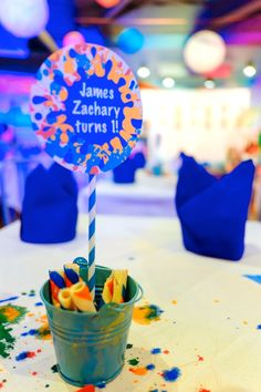 James' Art Attack / Painting Themed Party – Table Setup Details Craft Party, Party Themes, Arts And Crafts, Birthday, Table, Painting, Meet, Birthdays, Painting Art