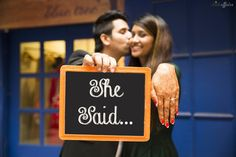 pre wedding shoot prop , engaged photo , she said yes , recently engaged photo , blackboard slate
