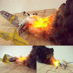 P-47 N burning after a bad landing 1/72 diorama
