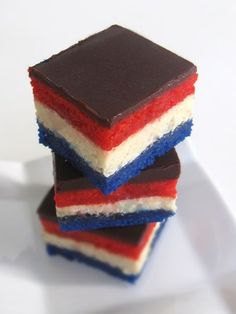 """The link says """"liberty squares"""" but I'm pretty sure these are just patriotic rainbow cookies 4th Of July Cake, 4th Of July Desserts, Fourth Of July Food, 4th Of July Celebration, 4th Of July Party, Just Desserts, Delicious Desserts, Yummy Food, July 4th"""