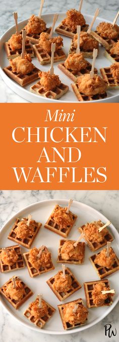 Mini Chicken and Waffles. #chickenandwaffles #chickenappetizers #recipes #chickenrecipes #wafffles
