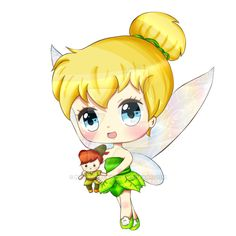 Tinkerbell by KawaiiiJackiiie on DeviantArt Kawaii Disney, Chibi Disney, Tinkerbell Disney, Disney Fairies, Disney Fan Art, Disney Love, Cute Disney Drawings, Disney Princess Drawings, Kawaii Drawings
