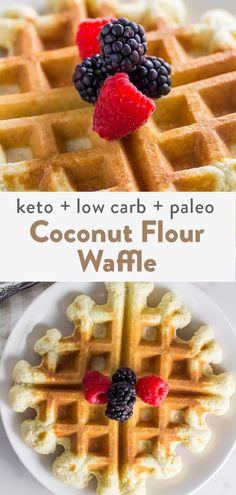 Recipes Using Coconut Flour, Coconut Flour Waffles, Healthy Waffles, Coconut Recipes, Low Calorie Waffle Recipe, Easy Waffle Recipe, Waffle Recipes, Pancake Recipes, Keto Smoothie Recipes