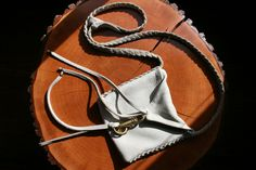 Sarah Tejada white leather, whipstitched cross body bag