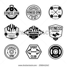 Set of Vector Black and White Gym and Fitness Logotypes, Labels and Badges Isolated on White