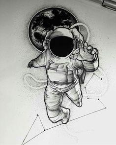 Tatuagem Astronauta; Astronaut Tattoo; Constelação de Escorpião; Constellation Scorpio; Planeta; Planet; Desenho; Designer.