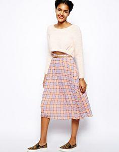 River Island Soft Check Full Midi Skirt