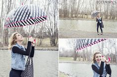 Olivia wanted to be bold on a gloomy day.  She plays with fun patterns and adds pops of hot pink.  Our Kate Spade striped umbrella and Kate Spade polka-dot reusable shopping tote take bring a fun vibe to this look.  Even the feet get a reason to sparkle with our rhinestone accent bow ankle rainboots. Rainy day outfit inspiration.   Kate Spade Umbrella $38 // Kate Spade Reusable Shopping Tote $16 // Rainboots $52 // Denim Vest $72 // Ulta Skinny Designer Denim $119 // Necklace $39