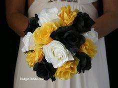 Yellow and black wedding flowers