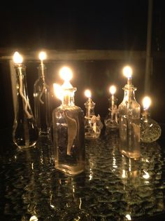 Sweet Oil Lamps. Just fill glass containers with oil, drop in a wick with a glass or porcelain holder, light and you have gorgeous oil lights. I love them outside in the evenings.