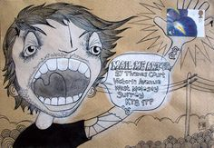 envelope art. Yelling boy with the address as the speech bubble!