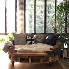 tomowithdogさんの、リビング,観葉植物,ソファ,DIY,まぁるいソファー,のお部屋写真