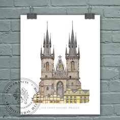 Prague | Church of Our Lady before Tyn | Art prints. High Quality, Limited Edition, 'Fine Art' and 'Photographic' prints taken from my original detailed illustration & watercolor. Perfect Prague Gift. This product listing is for HIGH QUALITY prints of my detailed Prague Old Town Square, Church of Our Lady before Týn, illustration and watercolor. It took me around 60 hours to complete from my studio in Macclesfield, Cheshire, UK. It is highly detailed and precise. I offer TWO PRINTING...
