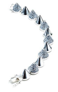 Eddie Borgo Silver Alternating Pave Cone Bracelet