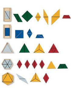 I triangoli costruttori Montessori, con tutorial per realizzarli in proprio, modelli gratuiti e istruzioni per la presentazione e l'utilizzo coi bambini. I triangoli costruttori servono a dimostrare che tutte le figure geometriche piane possono essere costruite per mezzo di triangoli.
