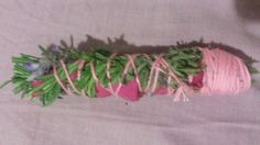 Smudge bundle with lavender and rose.
