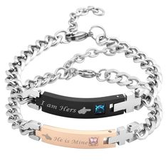 Couple Steel + Zircon I am Hers He is Mine Adjustable Bracelet Bangle Curb Chain Matching Couple Bracelets, Bangle Bracelets, Bangles, She & Him, Adjustable Bracelet, Stainless Steel Bracelet, Valentine Gifts, Jewelry Gifts, Fashion Jewelry