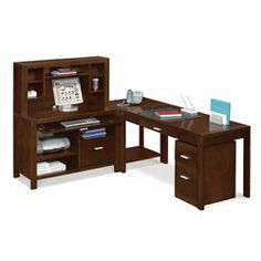 Carlton L-Desk Complete Workstation // This furniture is a perfect fit for unusual layouts and smaller spaces. Hand-laid, bookmatched, real wood veneer with wood-enhancing finish over hardwood solids. This set includes the Table Desk, Corner Table, Credenza, Hutch and Mobile Pedestal.
