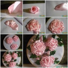 DIY Embroidery Ribbon Roses | iCreativeIdeas.com LIKE Us on Facebook == https://www.facebook.com/icreativeideas