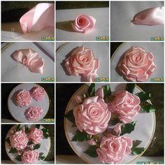 DIY Embroidery Ribbon Roses | iCreativeIdeas.com LIKE Us on Facebook == https://www.facebook.com/icreativeideas