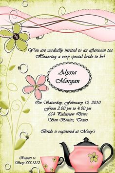 Afternoon Tea Party Bridal Shower Invitation by debspartydesigns, $10.00