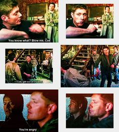 """(gif set) Jensen and Misha make the most of """"Destiel"""" lines in the gag reels."""