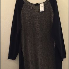 Black and gold color block sweater dress Very classy sweater dress. Shape and figure flattering without sacrificing comfort. Great for a holiday party or any other time you want to feel fancy. Brand new, never worn :) Lane Bryant Dresses Midi