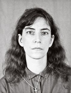 """Passport picture taken of [Patti] Smith in Cayenne in 1980. She had gone to French Guiana to collect earth and stone from Saint-Laurent prison for Jean Genet."""