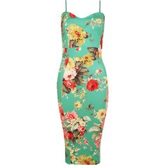 Clea Strappy Floral Knee Length Dress ($28) ❤ liked on Polyvore featuring dresses, green, holiday cocktail dresses, floral summer dresses, holiday dresses, green summer dress and evening cocktail dresses