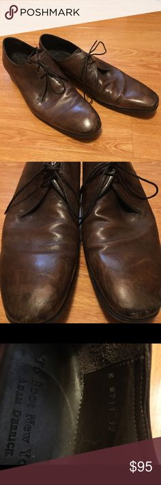 To Boot New York Adam Derrick Purchased at Bergdorf Goodman. Lightly used brown leather dress shoes from designer Adam Derrick's To Boot New York. Made in Italy. These shoes have a map of New York City carved into the soles of the shoes and are in excellent condition. To Boot Shoes