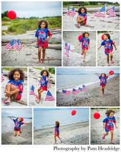 Red, white, and blue, beach, patriotic 4th of July photo shoot.  Photography by Pam Headridge