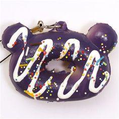 purple Rilakkuma donut squishy cellphone charm sprinkles 1