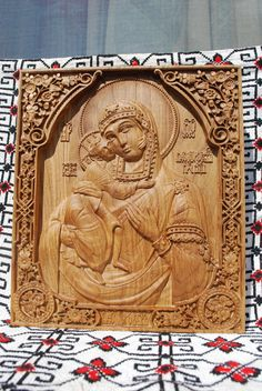 Wood Carved Religious orthodox iconMother Mary  by Woodenicons