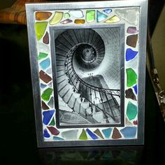 Sea glass picture frame. Glass from KoOlina Oahu