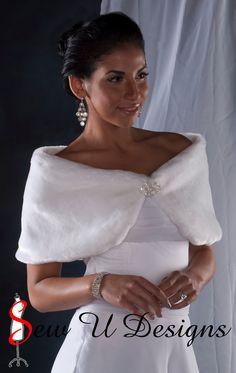 Custom Bride's Faux Fur Wrap shawl White Winter Wedding Formal shrug 10 inch width