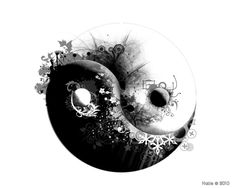 "Yin yang; a 3D drawing composition using plant and ice crystal elements to define the yin from yang that create an image reminiscent of female breast cleavage; by Katie Molnarova (potworka on DeviantArt) in a piece she calls ""My Jin-Jang"""