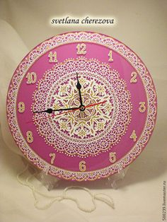 Clock Painting, Clock Art, Dot Art Painting, Diy Clock, Hanging Clock, Clock Ideas, Mandala Doodle, Mandala Dots, Mandala Artwork