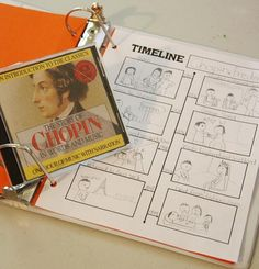 Chopin Composer Study: one page biographical timeline; great way to review a person from history; includes link to free printable.