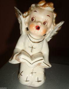 vintage ANGEL FIGURINE singing open mouth prayer book cross gold gilt  Estate