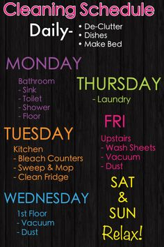 Weekly Cleaning Schedule, to always keep your weekends free of chores
