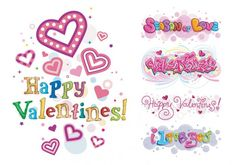 Happy Valentine\'s Day vector clip art of words