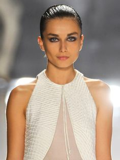 Slicked back hair at Chado Ralph Rucci Spring Summer 2012