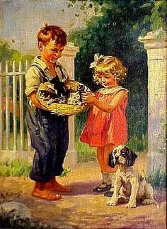 Rose Hill Auction Gallery, LTD-Two Young Children Holding a Straw Hat
